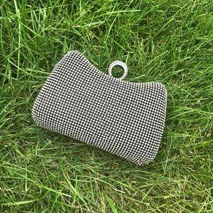 NEW silver diamond crystal ring clutch bag purse